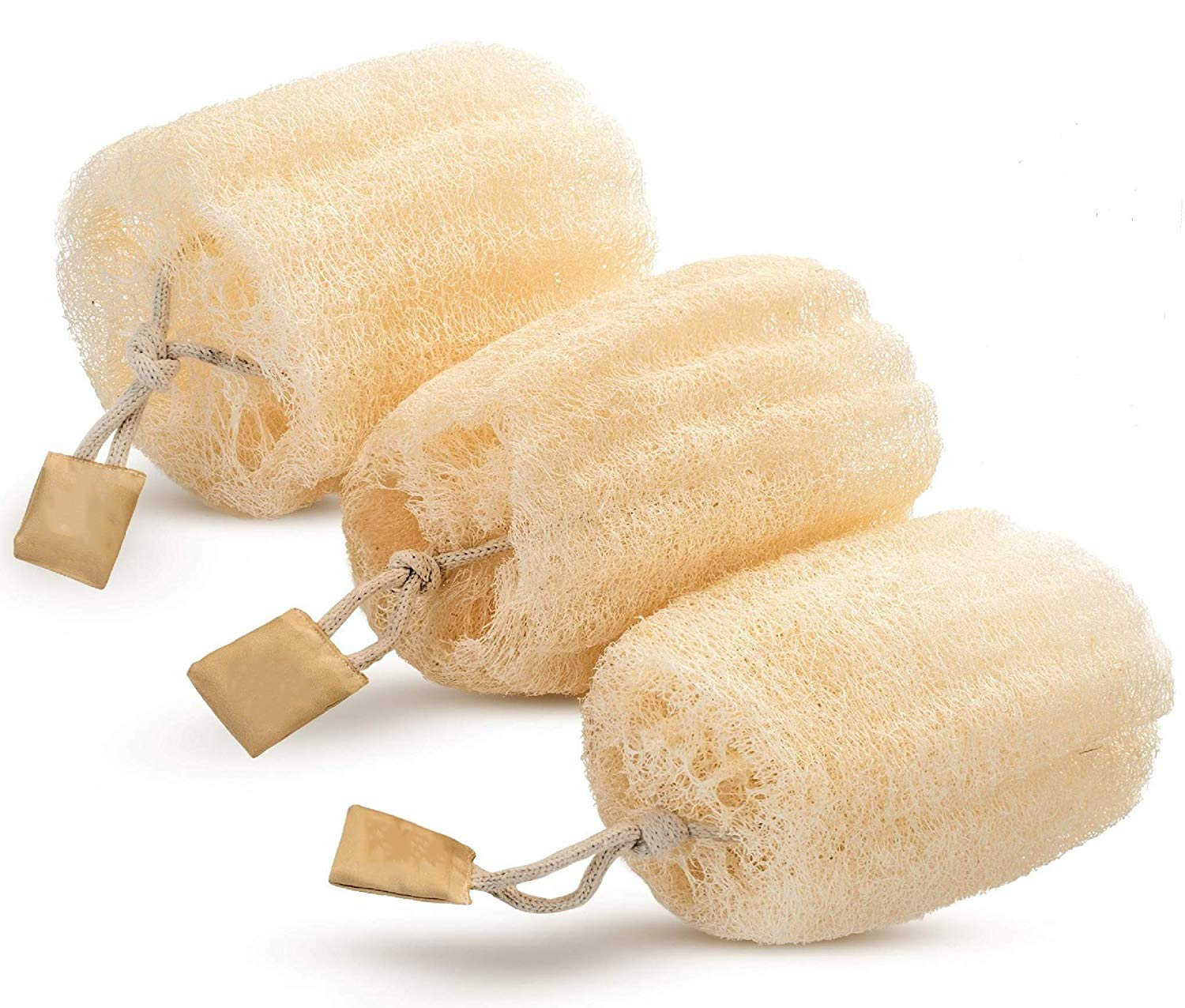 Natural Loofah Sponge Pieces With Rope