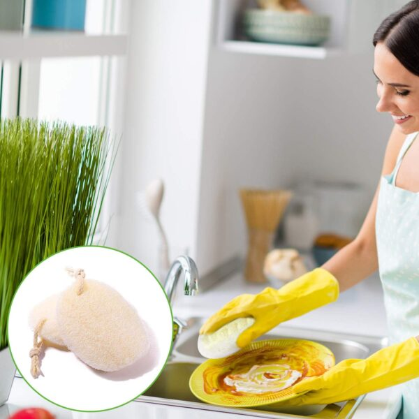 Oval Kitchen Loofah Scrubber   Cute Eve Egyptian Luffa Sponges Supplier
